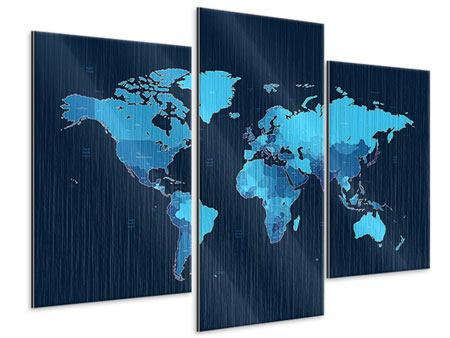 Metallic-Bild 3-teilig modern Weltkarte