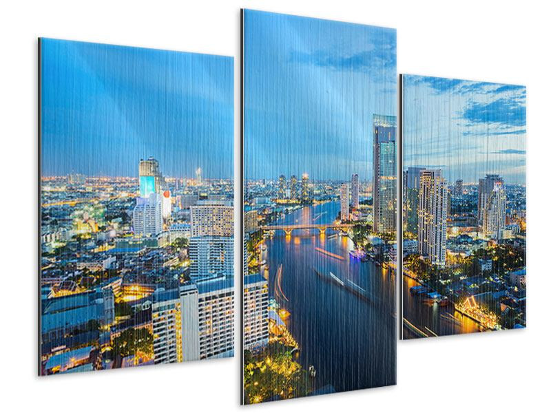 metallic bild 3 teilig modern skyline bangkok in der abendd mmerung. Black Bedroom Furniture Sets. Home Design Ideas
