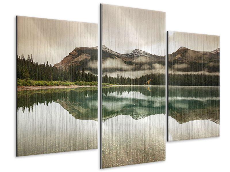 Metallic-Bild 3-teilig modern Spiegelung im Glacier Nationalpark
