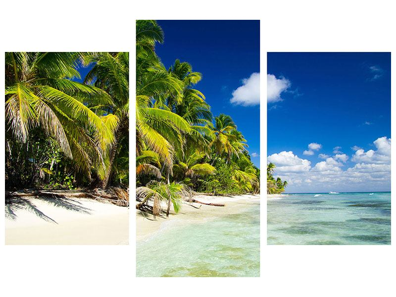 Metallic-Bild 3-teilig modern Die einsame Insel