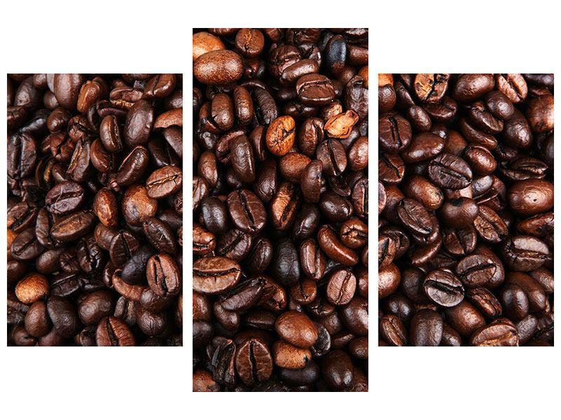 Metallic-Bild 3-teilig modern Kaffeebohnen in XXL