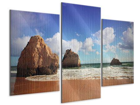 Metallic-Bild 3-teilig modern Strandgedanken