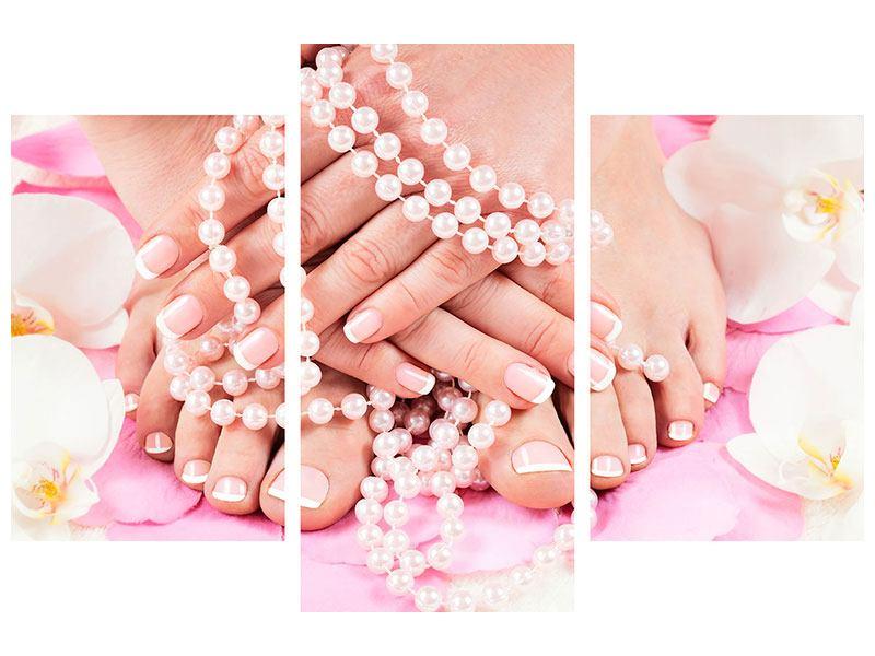 Metallic-Bild 3-teilig modern Hände und Füsse