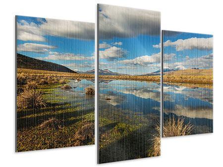 Metallic-Bild 3-teilig modern Wasserspiegelung am See