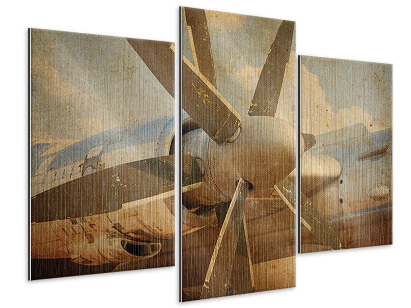 Metallic-Bild 3-teilig modern Propellerflugzeug im Grungestil