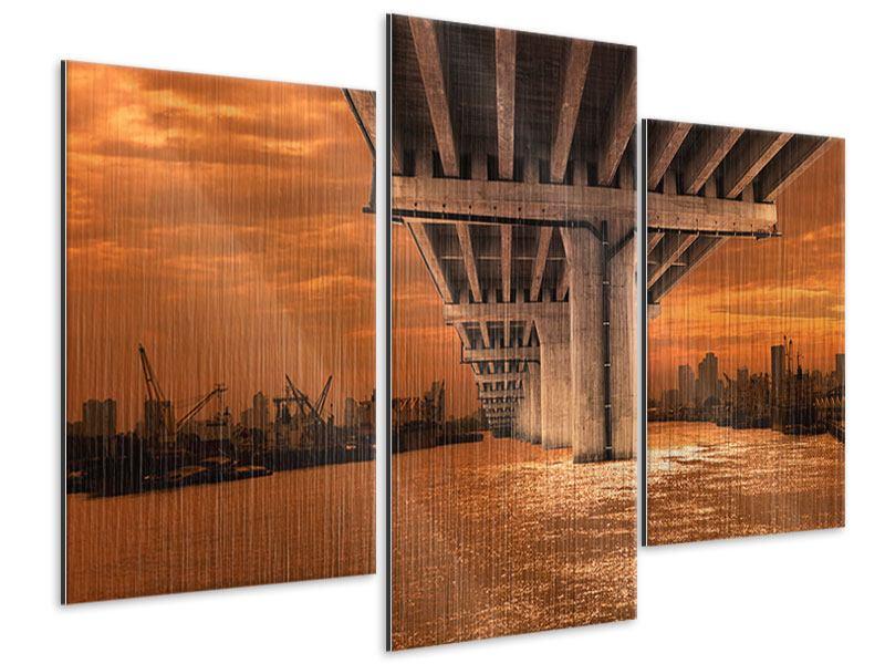 Metallic-Bild 3-teilig modern Die Brücke