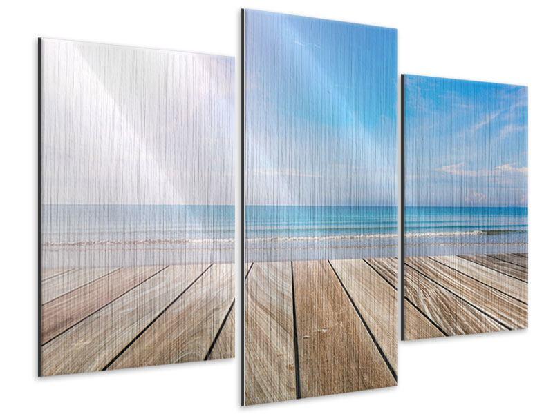 Metallic-Bild 3-teilig modern Das schöne Strandhaus