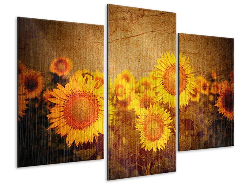 Metallic-Bild 3-teilig modern Retro-Sonnenblumen