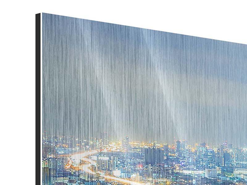 Metallic-Bild 3-teilig modern Skyline Bangkok im Fieber der Nacht