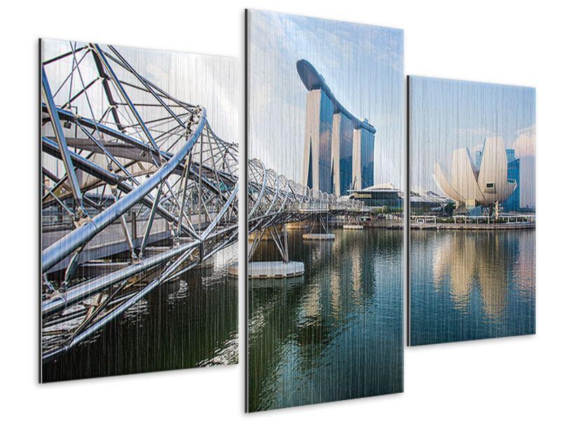 Metallic-Bild 3-teilig modern Singapur