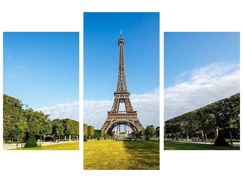 Metallic-Bild 3-teilig modern Der Eiffelturm in Paris
