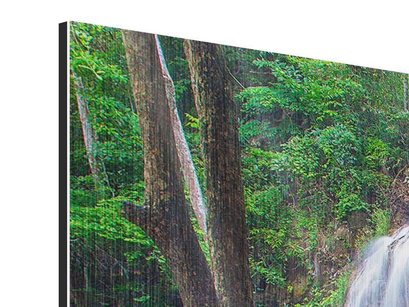Metallic-Bild 3-teilig modern Naturerlebnis Wasserfall