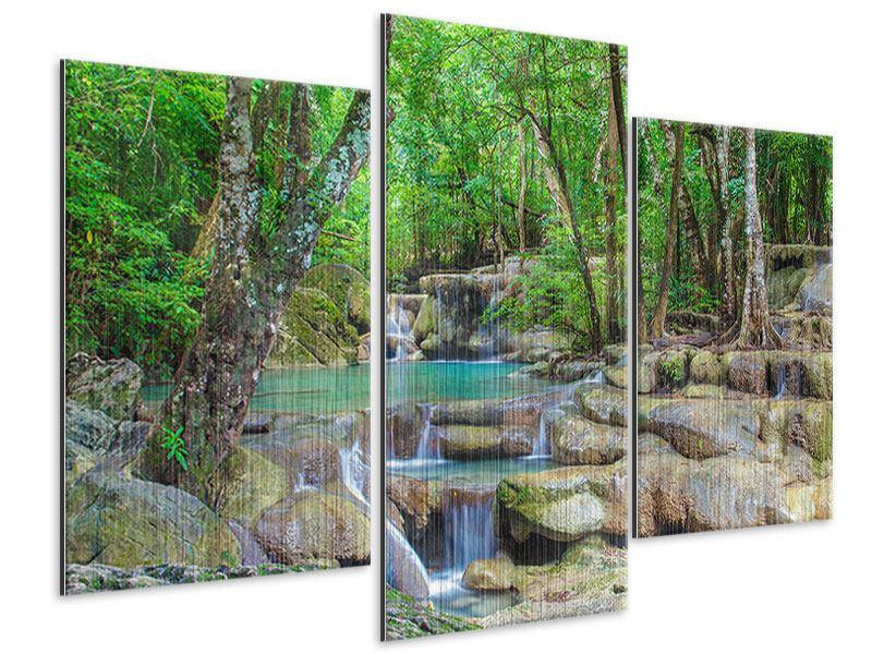 Metallic-Bild 3-teilig modern Wasserspektakel