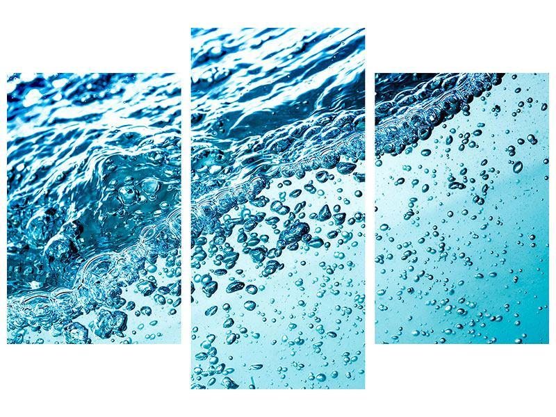 Metallic-Bild 3-teilig modern Wasser in Bewegung