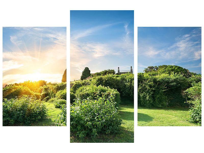 Metallic-Bild 3-teilig modern Sonnenaufgang im Park