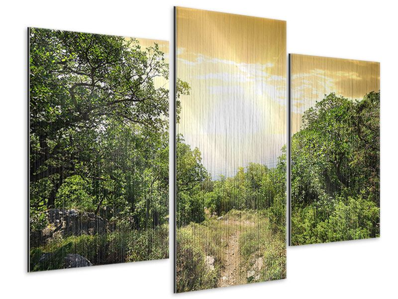 Metallic-Bild 3-teilig modern Am Ende des Waldes