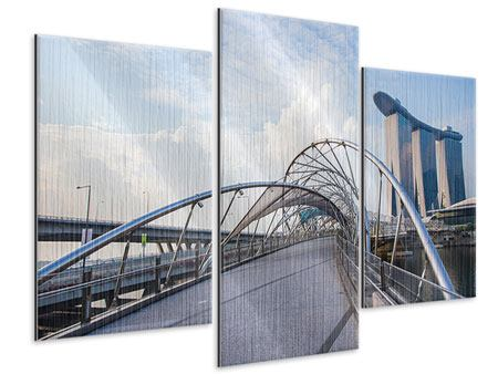 Metallic-Bild 3-teilig modern Helix-Brücke