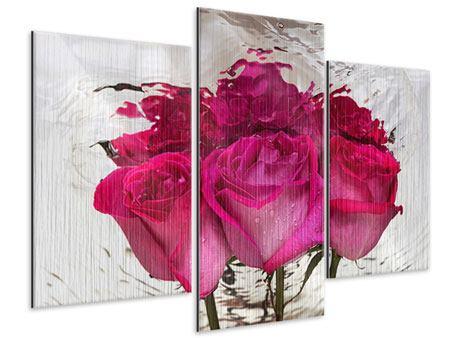 Metallic-Bild 3-teilig modern Die Rosenspiegelung