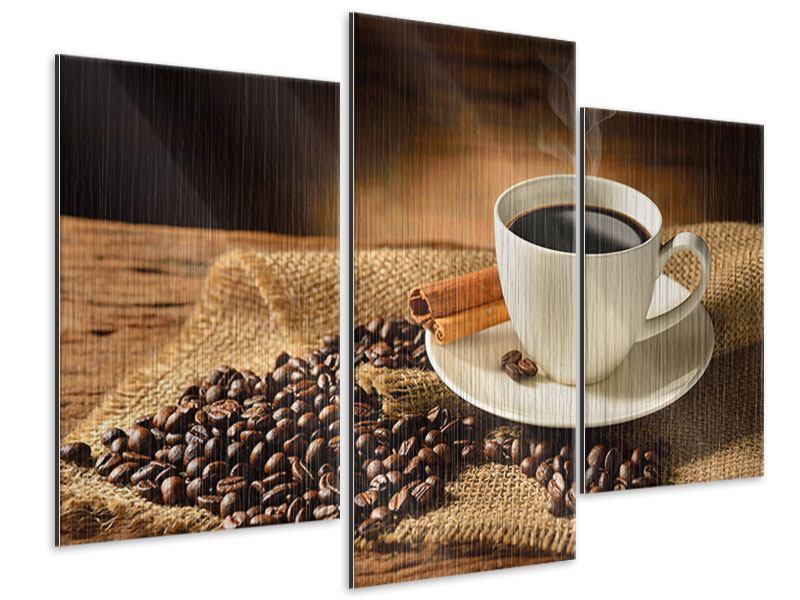 Metallic-Bild 3-teilig modern Kaffeepause