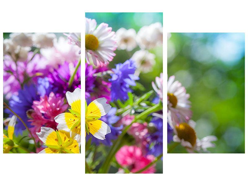 Metallic-Bild 3-teilig modern XXL Gartenblumen