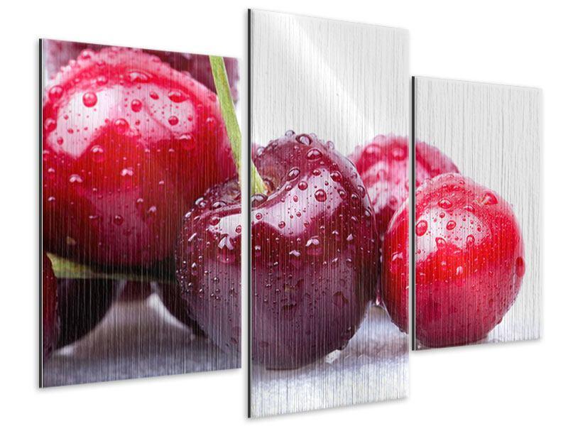 Metallic-Bild 3-teilig modern Kirschen