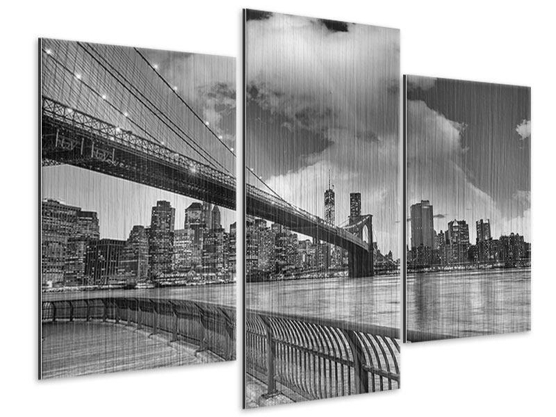 Metallic-Bild 3-teilig modern Skyline Schwarzweissfotografie Brooklyn Bridge NY