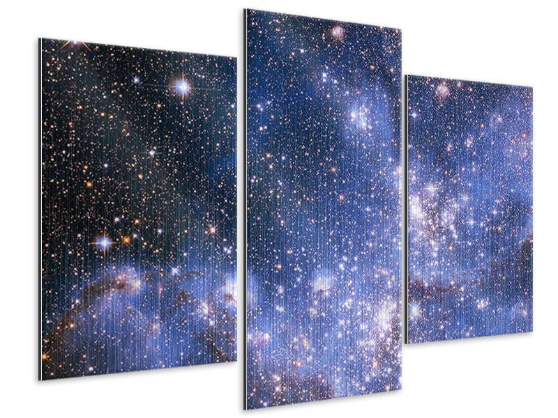 Metallic-Bild 3-teilig modern Sternenhimmel