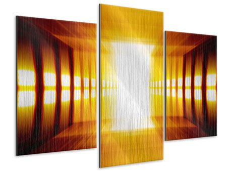 Metallic-Bild 3-teilig modern Abstrakter Goldener Raum
