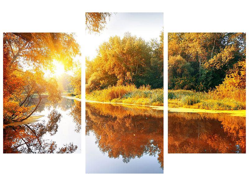 Metallic-Bild 3-teilig modern Waldspiegelung im Wasser