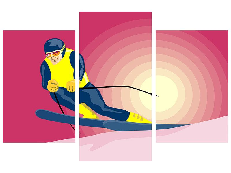 Metallic-Bild 3-teilig modern Retro-Skifahrer