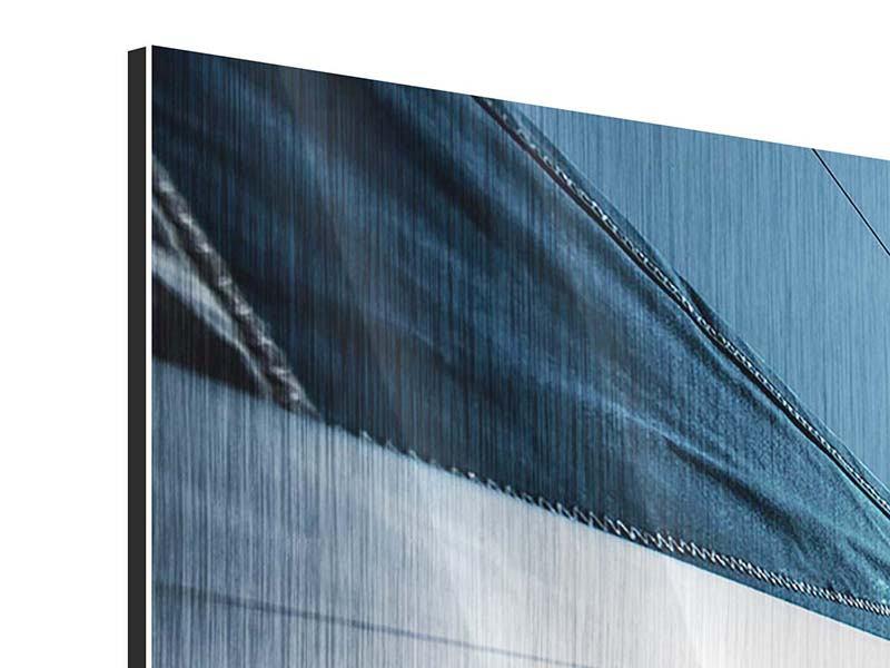 Metallic-Bild 3-teilig modern Segelschiff Close Up