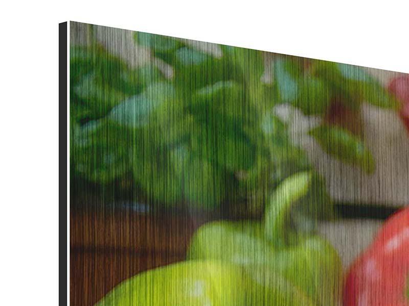 Metallic-Bild 3-teilig modern Mediterranes Gemüse