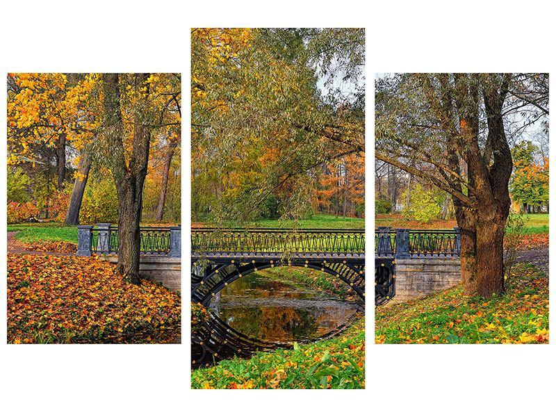 Metallic-Bild 3-teilig modern Romantischer Park