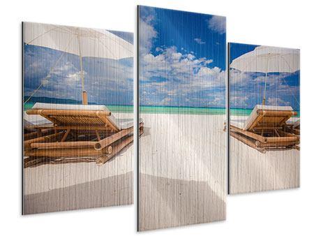 Metallic-Bild 3-teilig modern Liegen am Strand
