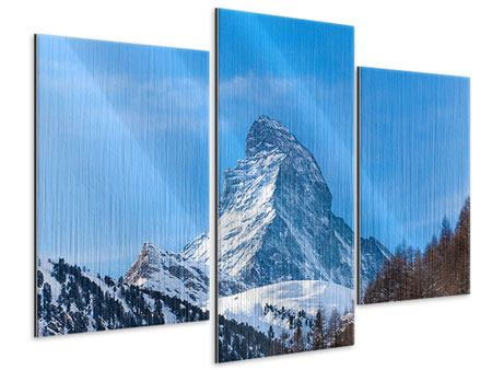 Metallic-Bild 3-teilig modern Das majestätische Matterhorn