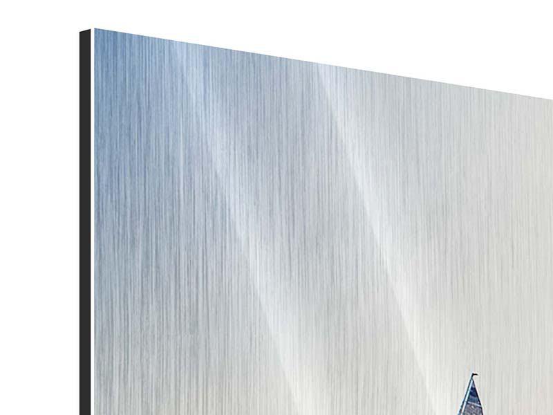 Metallic-Bild 3-teilig modern Segelyacht