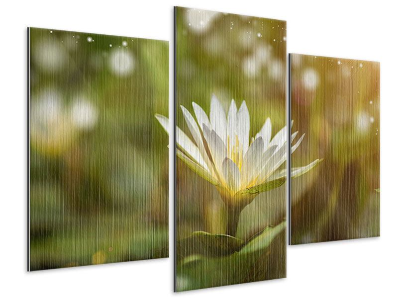 Metallic-Bild 3-teilig modern Lilien-Lichtspiel