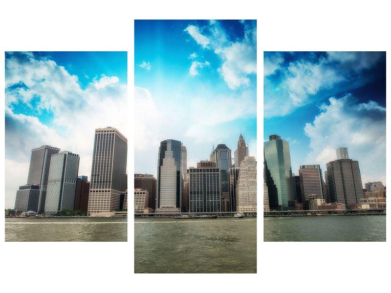 Metallic-Bild 3-teilig modern Skyline Lower Manhattan