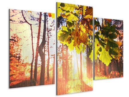 Metallic-Bild 3-teilig modern Herbst