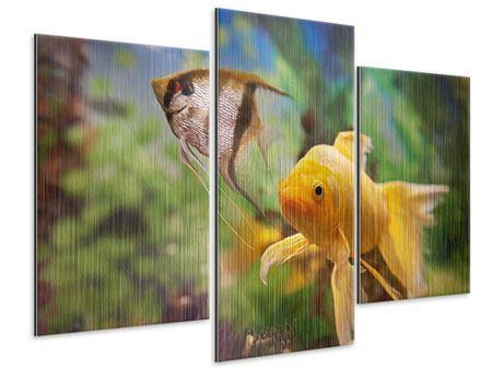Metallic-Bild 3-teilig modern Bunte Fische