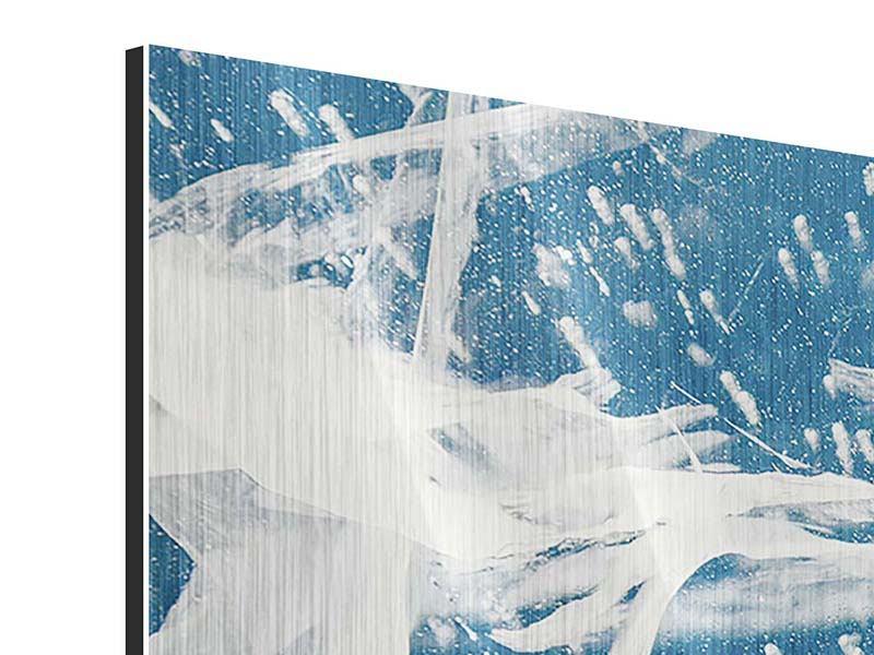 Metallic-Bild 3-teilig modern Eiskristalle
