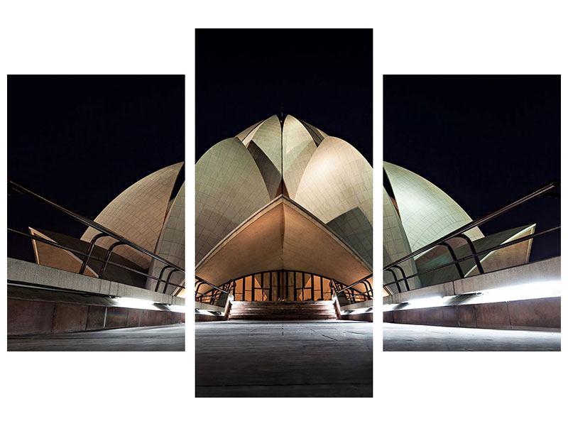 Metallic-Bild 3-teilig modern Der Lotus-Tempel