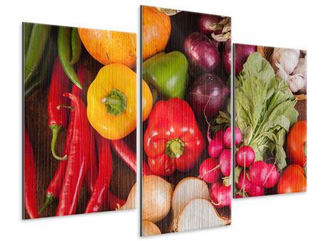Metallic-Bild 3-teilig modern Gemüsefrische