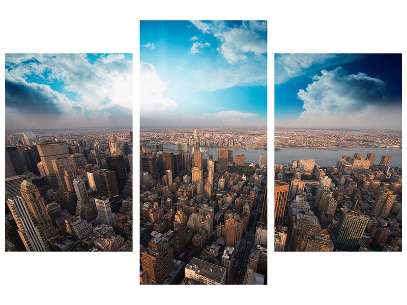 Metallic-Bild 3-teilig modern Skyline Über den Dächern von Manhattan
