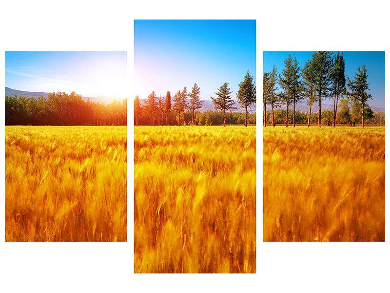 Metallic-Bild 3-teilig modern Der Herbst
