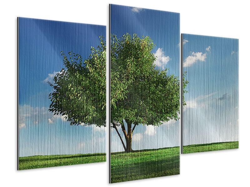 Metallic-Bild 3-teilig modern Baum im Grün