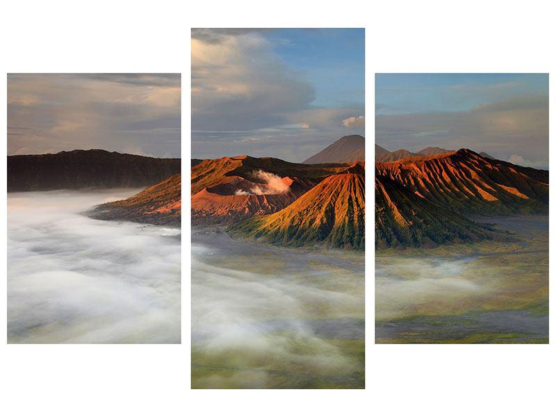 Metallic-Bild 3-teilig modern Der Bromo Vulkan