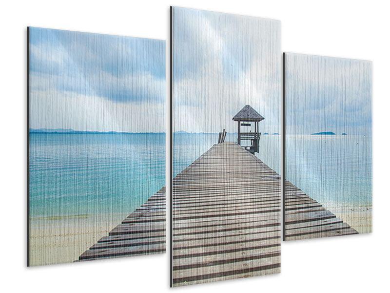 Metallic-Bild 3-teilig modern Ozean-Steg