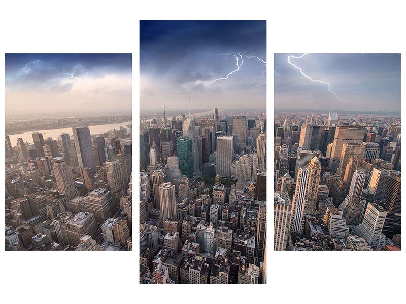 Metallic-Bild 3-teilig modern Manhattan