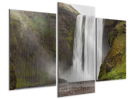 Metallic-Bild 3-teilig modern Skogafoss